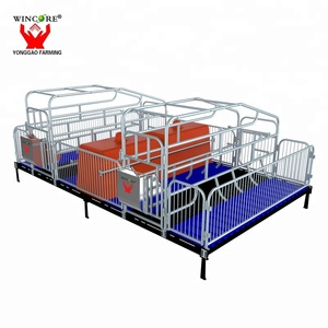 Durable double pig farrowing crate for pigs