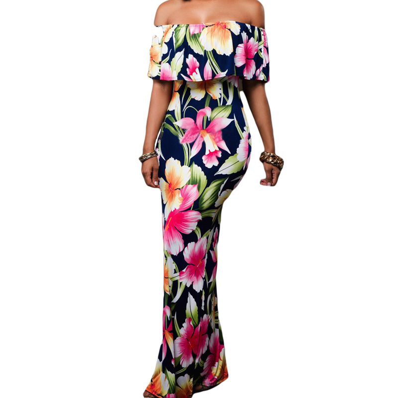 China Wholesale Floral Print Off The Shoulder Maxi Dress For Women, As shown