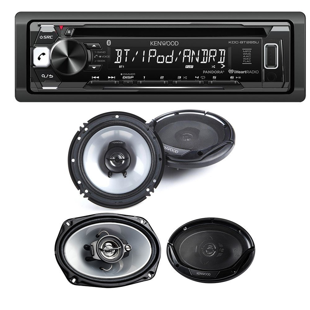"Kenwood KDC-BT265U Single DIN Bluetooth In-Dash CD/AM/FM Car Stereo + Kenwood KFC-1665S 60W 6.5"" 2-Way and Kenwood KFC-6965S 90W 6x9"" 3-Way Coaxial Speakers Tweeters"