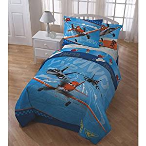 1 Piece Disney Pixar Planes Themed Comforter Twin Set, Adorable Multi Character Pattern, Blue, Red, All Over Advantures Dusty,Skipper, El Chupacabra Print,Reversible Bedding,For Unisex, Vibrant Color