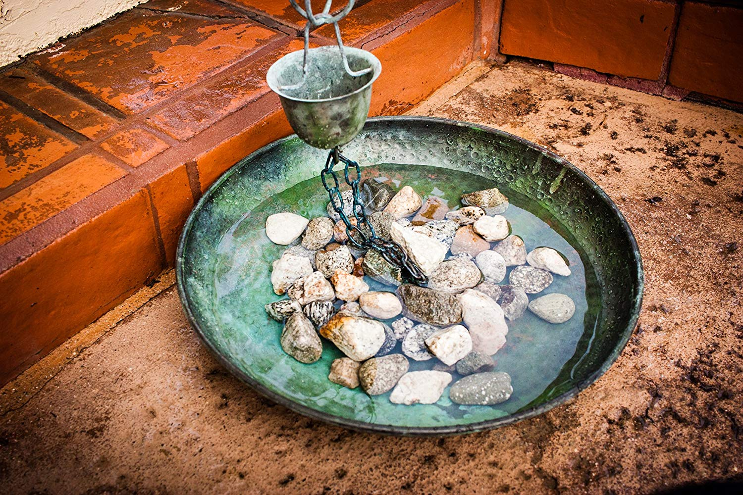 Monarch Rain Chains Pure Copper Hammered Anchoring Basin, 15 Inches (Green Patina)