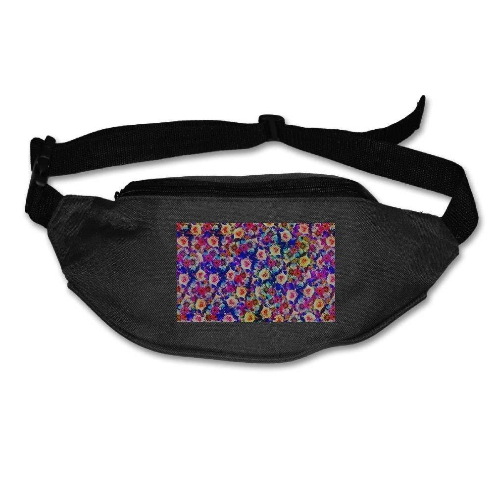 Jessent Unisex Waist Bags Pockets Dark Flowers Fanny Pack Waist/Bum Bag Adjustable Belt Running Cycling Bag
