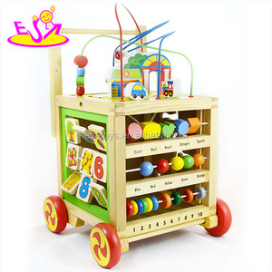 2016 hot sale multifunctional wooden baby walker wheels W11B128