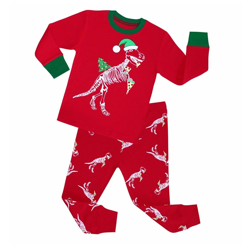 b15a6806ce Kids Girls Boys Dinosaur Matching Christmas Pajamas Long Sleeve Top Pants  Pajamas set