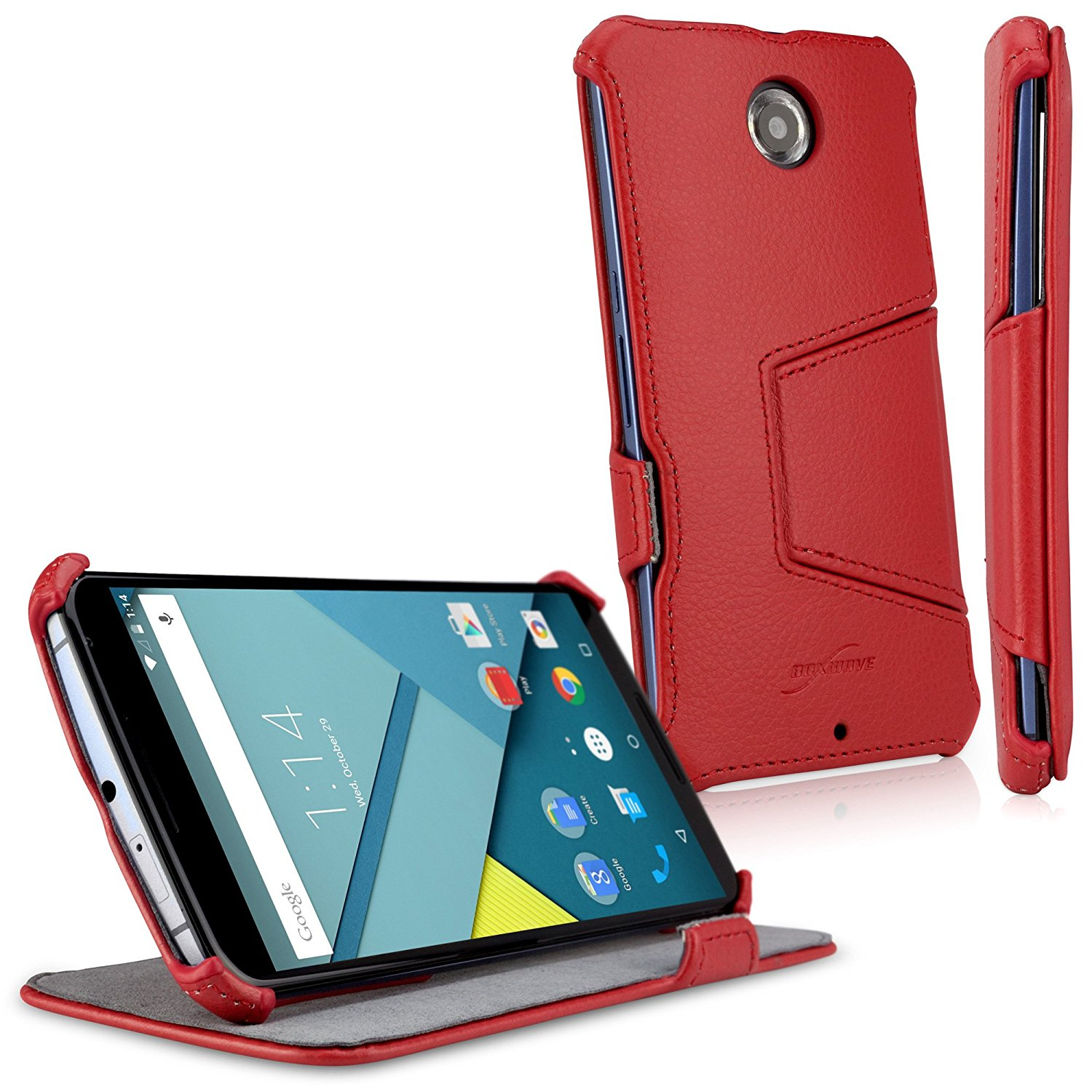 new arrival 9137b 6a826 Nexus 6 Case, BoxWave [Leather Book Jacket] Protective Synthetic Leather  Folding Folio Cover for Google Nexus 6 - Ardent Red