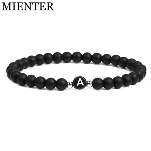 2019 New jewelry couple 6mm beads charms Yoga natural matte stone alphabet letter bracelet