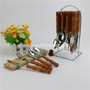 Bamboo/Wooden PP/PS Shape Plastic Handle Stainless Steel Hanging Cutlery Set/Dinnerware Set
