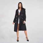 Custom High Quality khaki double breasted trench coat women long