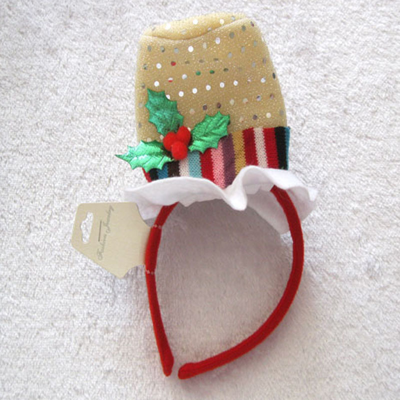 Factory wholesale special hair bands with a christmas santa hat