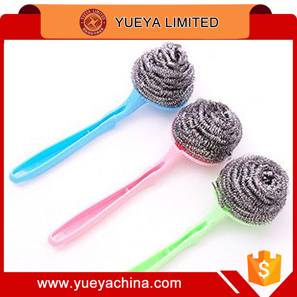 Plastic Handle Steel Wire Ball Spiral Scourer Brush Replaceable ball