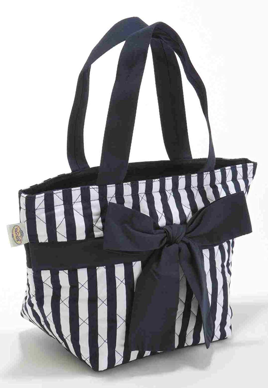 Get Quotations · NARAYA Dark Blue and White Stripes Cotton Handbag with  Front Ribbon Bow Tie b5befe25fdfc4