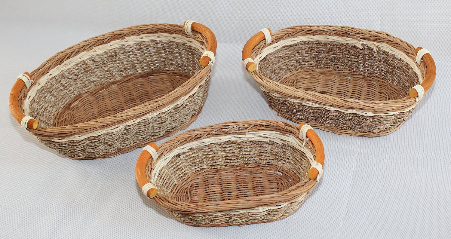 RT450100-3: Wicker/Rattan Bread or Storage Curve Pole Handle Baskets in Cream and Brown