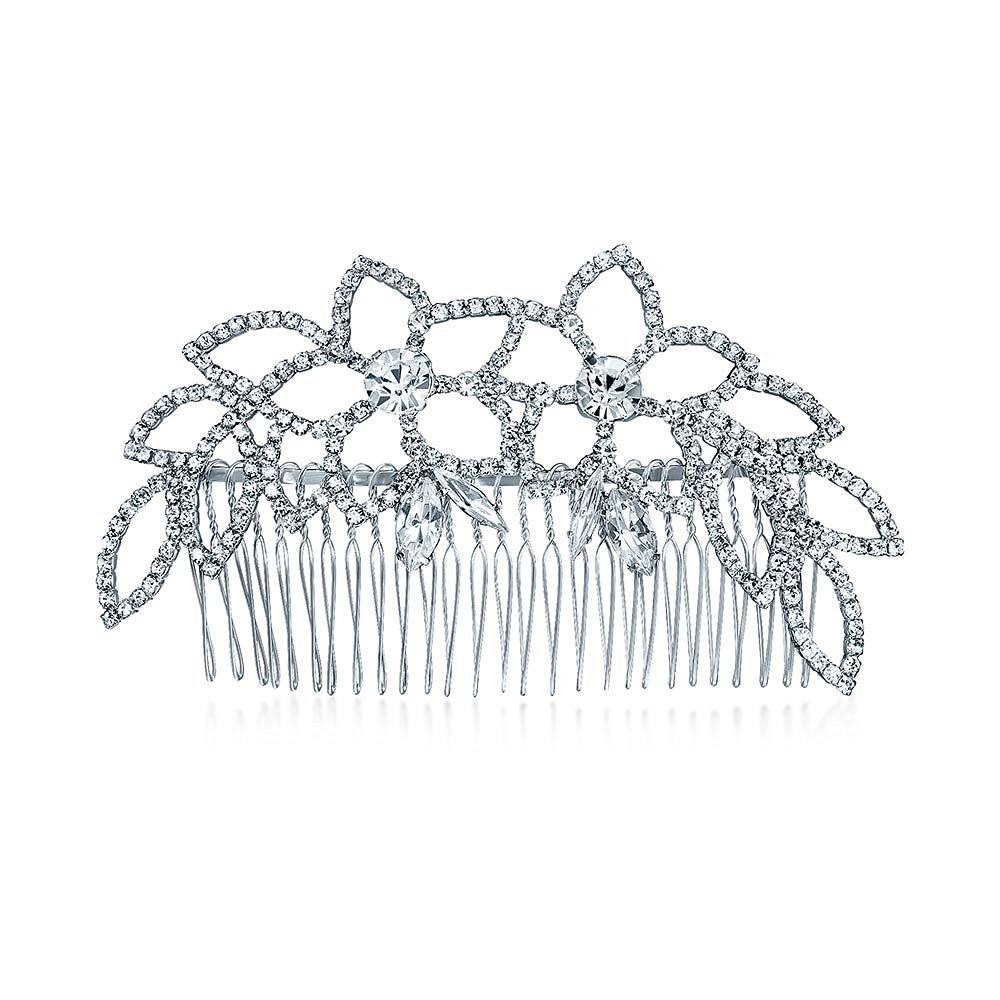 Bling Jewelry Leaf Princess Crystal Bridal Tiara Hair Comb Silver Plated