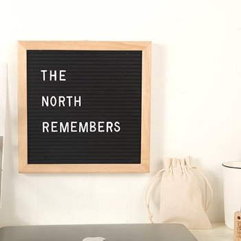 Oak Wood Frame Changeable Felt Letter Board with Letters Numbers Symbols Wooden Message Board Sign With Free Canvas Bag