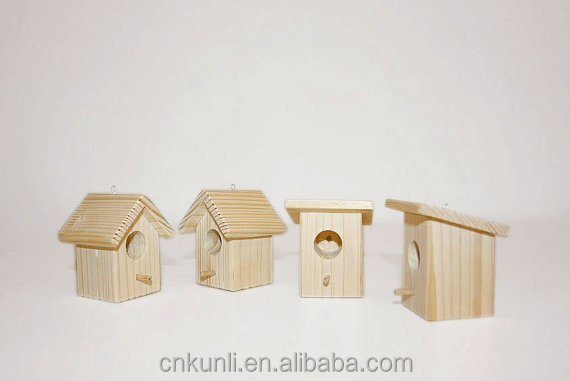 Set of 4 Miniature wooden birdhouse - Christmas Decor - Natural Wood -DIY - Christmas ornament - Wooden supplies