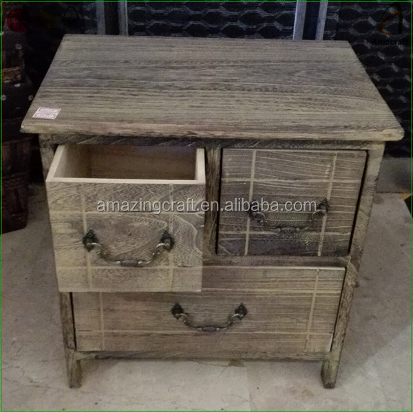 Customized Light Burnt Antique Wood Storage Cabinets