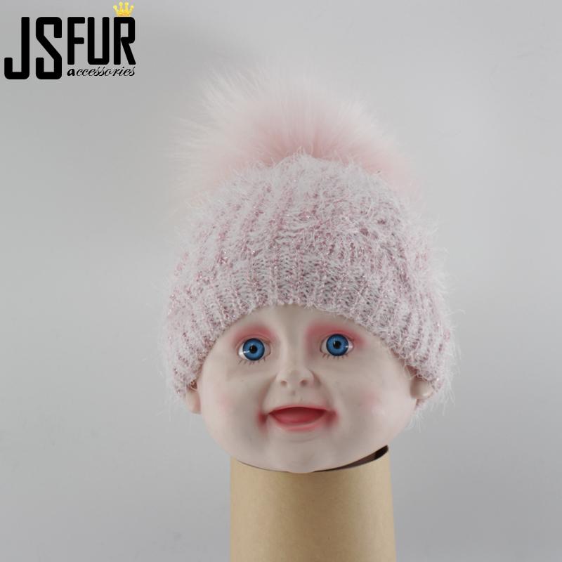 24b78b3595e93 enfants chapeaux bobble Stock d accessoires de mode Moderne Pas Cher Bonnet  En Tricot Réel Raton Laveur Pom Bébé ...