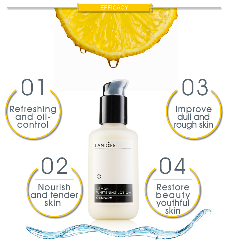Private Label Skin Care Lemon Whitening Body Lotion For Beauty