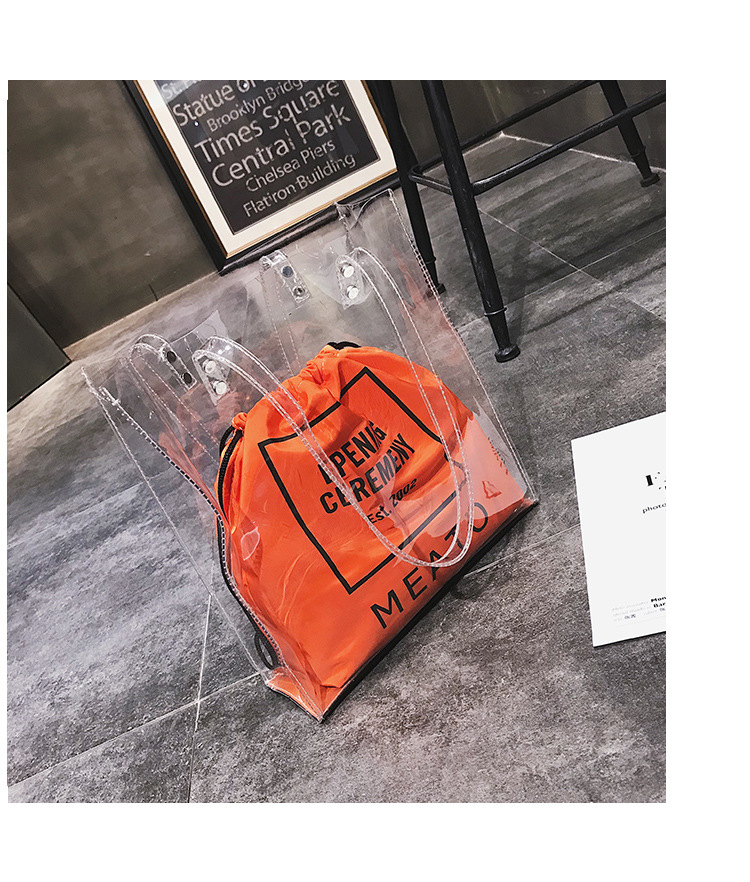 Hot sale summer large plastic PVC clear <strong>handbag</strong> tote bag with inner drawstring bag