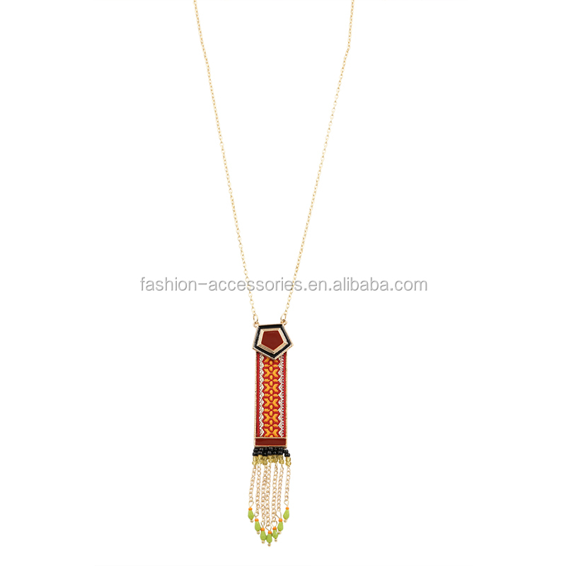 Fashion Ethnic Women Handmade Bohemia Fabric Set Enamel Resin Long Gold Beads Designs Chain Pendant Necklace 2017