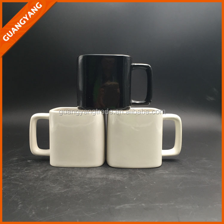 zibo factory 8 oz black and white cube square shape ceramic coffee mug with square handle