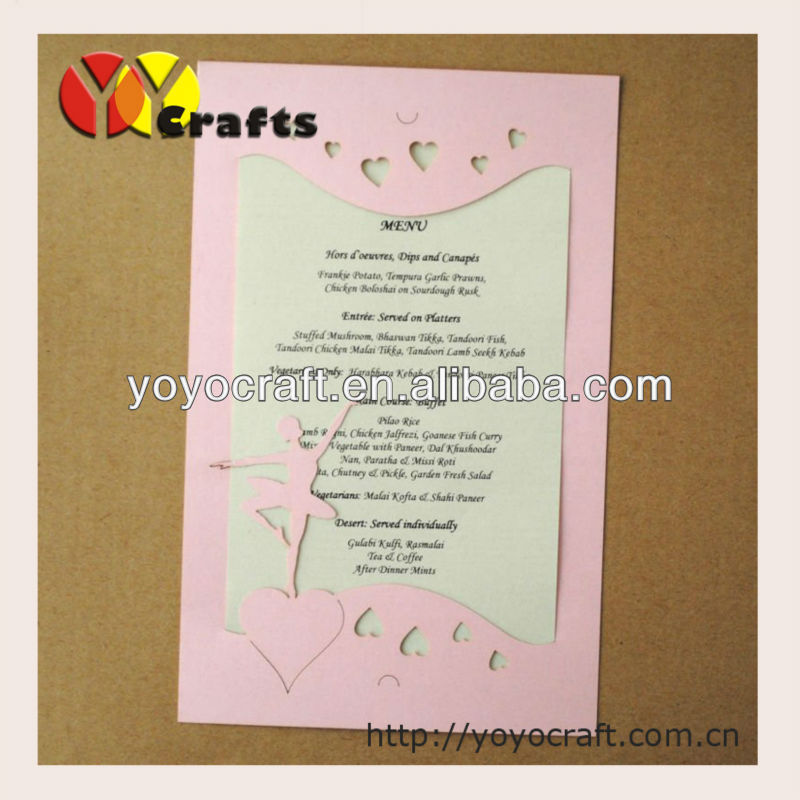 hot sale holiday supplies laser cutting invitation card INC006 with envelope and insert, 100 sets