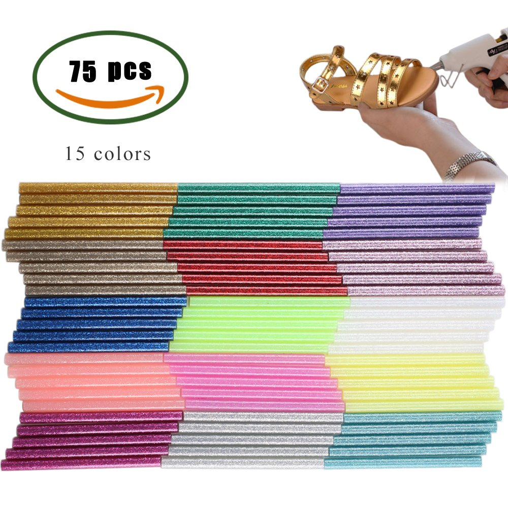Get Quotations Manyee 75 Pack 15 Colors Hot Glue Gun Sticks Melt High Adhesive Stick For