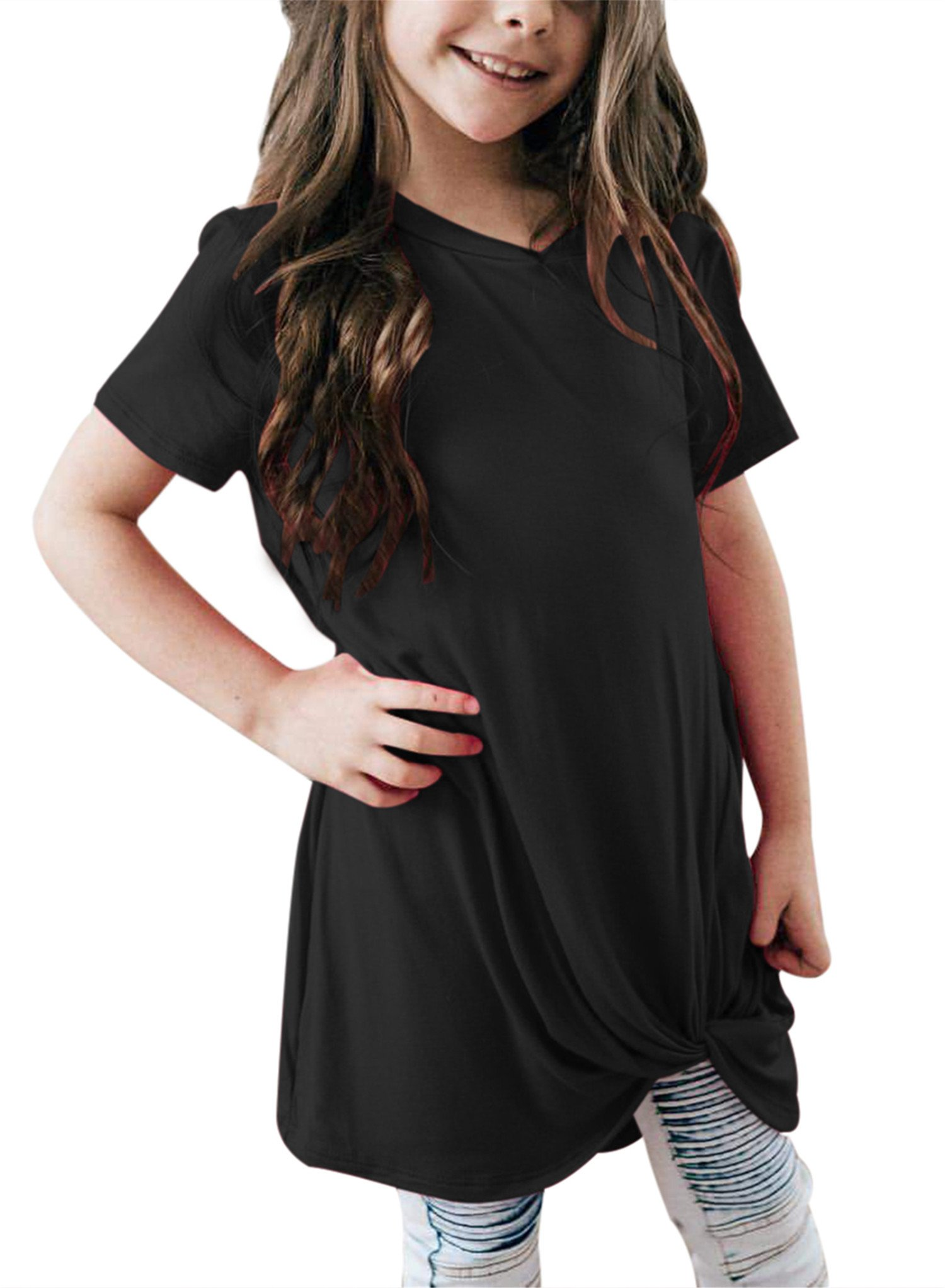 acdaf49f03cb3 Get Quotations · Bulawoo Girls Casual Loose Short Sleeve Knot Front Tops Tee  Shirts Size 4-13