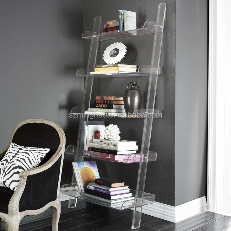 New Design Clear Acrylic Leaning Bookshelf Cabinet