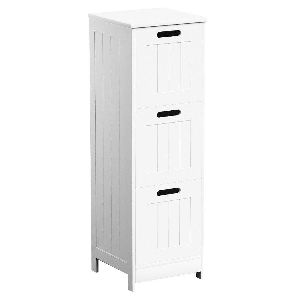Get Quotations 3 Drawers White Wooden Bathroom Storage Cabinet Freestanding Cupboard Floor Unit Monk By Zizzi