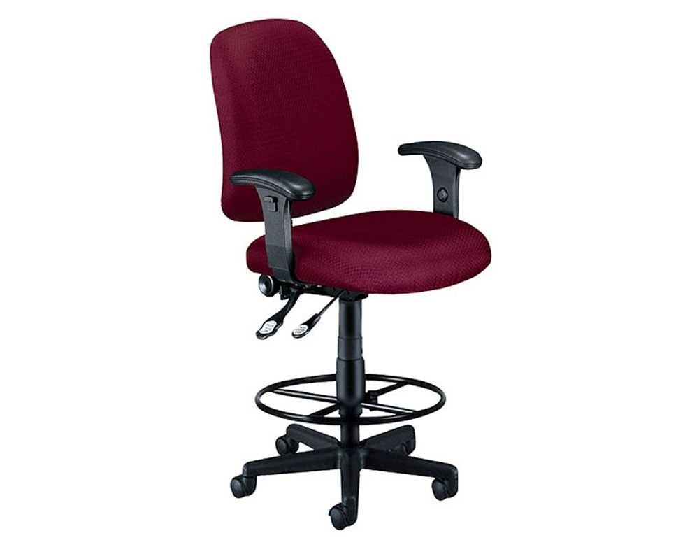 """Ergonomic Stool with Arms Dimensions: 26.25""""W x 28.25""""D x 46-50.5""""H Seat Dimensions: 19.75""""Wx19.75""""Dx28.5-33""""H Weight: 43 lbs. Wine"""