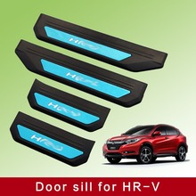 Stainless steel LED Car Welcome Scuff Plate 4pcs/set for Honda HRV HR-V Refitting Accessories 2014 2015