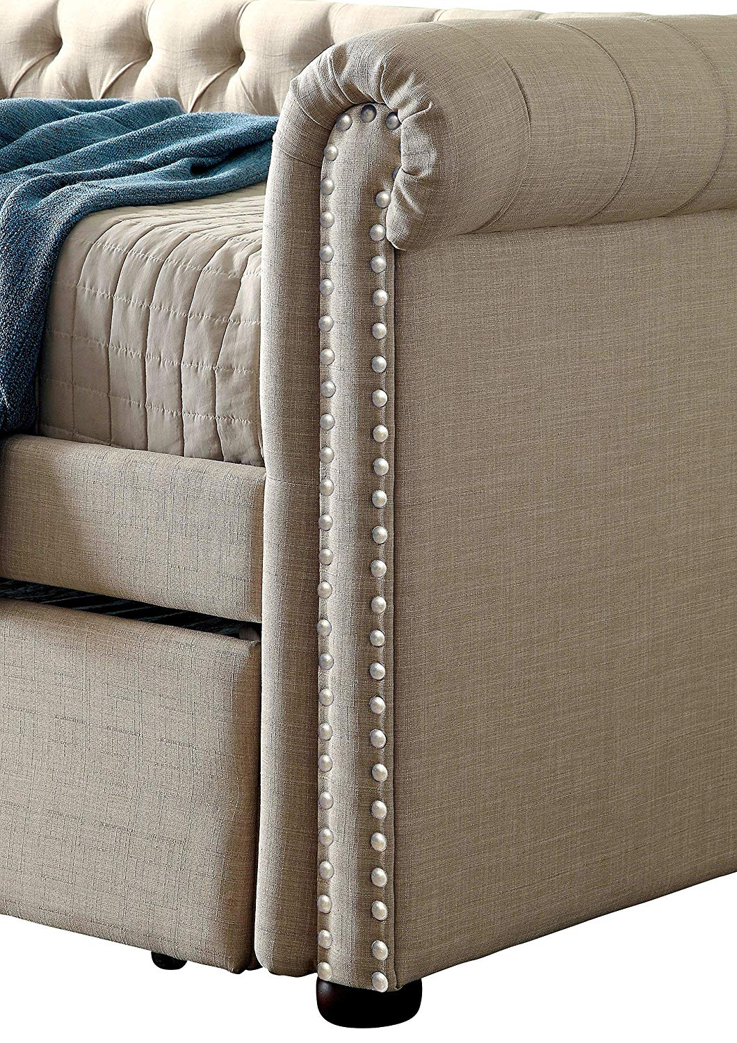 HOMES: Inside + Out IDF-1027BG-Q Hunten Daybed, Queen, Beige