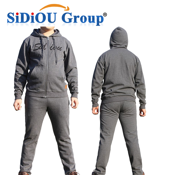 Sidiou Group Custom Wholesale Embroidery 100% Cotton Zipper Man Hoody  Sweater Long Sleeve Casual Sport Hoodies and Pants Set 17cc3767236c