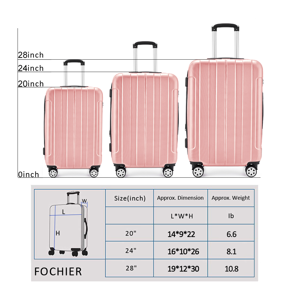 f234b5e78 Rose Gold Girls Elegant Trolley Case 3pcs Hard Luggage Suitcase ...