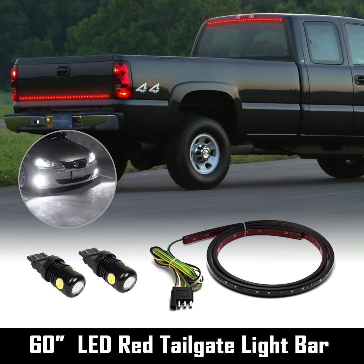 "Partsam Truck Tailgate Red Light Strip Bar Turn 60""+2x3157 Epistar-COB White LED Reverse"