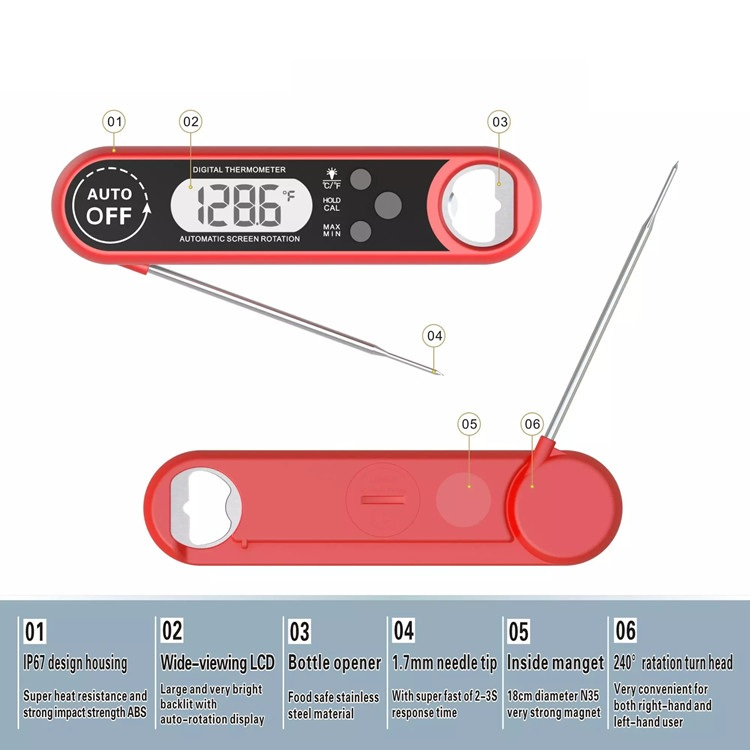 Backlight super fast read digital meat thermometer for kitchen bbq cooking