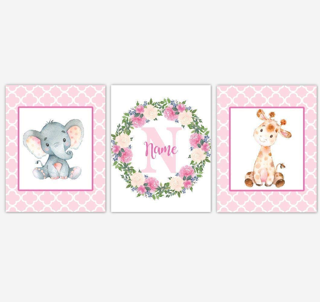 Get Quotations Baby Nursery Wall Art Elephant Giraffe Safari Personalized Fl Wreath Pink Flower