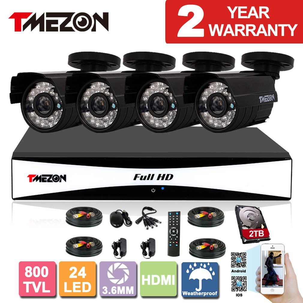 TMEZON 8CH 960H HDMI DVR Kits P2P Recorder 4x 800TVL Cameras Waterproof CCTV Surveillance Security System 3G Remote Mobile Access iPhone Android View 2TB HDD