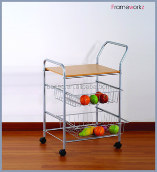 3 Tiers Kitchen Trolley /Meal Chrome Trolley With Basket/metal Kitchen  Trolley With Wood