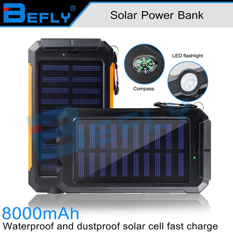Private lable 2016 double USB mobile solar charger 8000mah, solar powerbank with compass