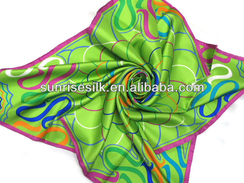 2012 fashion geometric print silk scarf