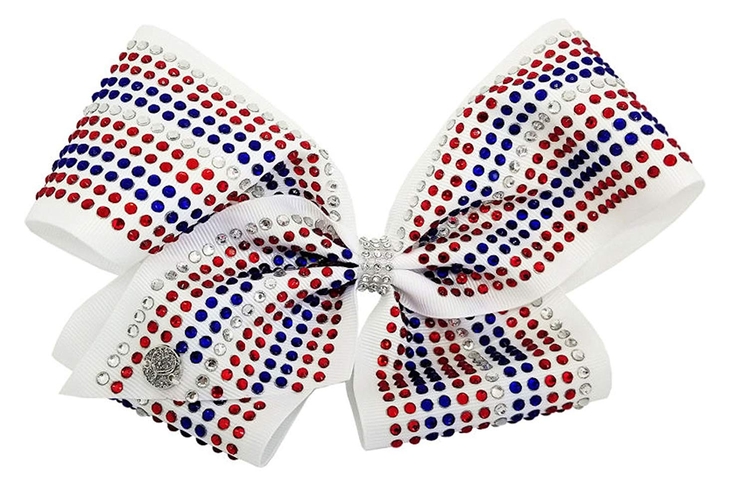 JoJo Siwa Signature Collection Hair Bow July 4th Edition - Red White and Blue Rhinestone