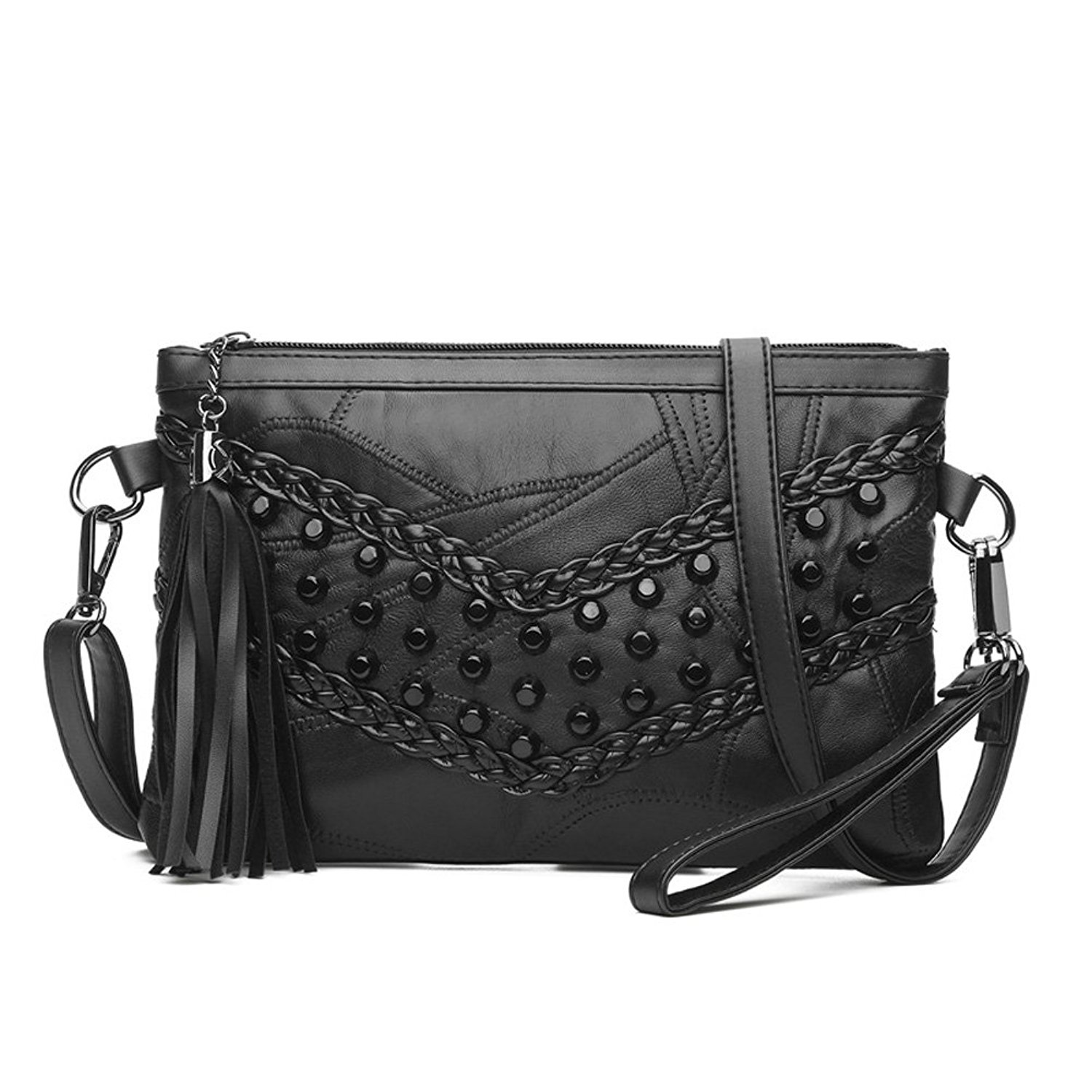 39951e7bca0d4a Get Quotations · KARRESLY Women's Rivets Studded Shoulder Bag Black Tassel  Clutch Bag Cross Body Bags