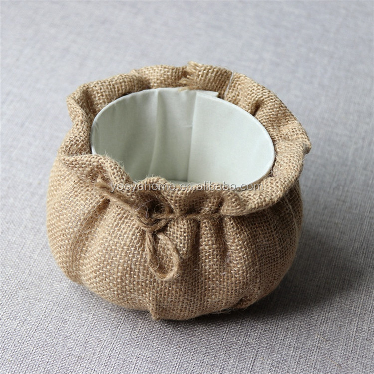 2019 new arrival natural jute material pumpkin plastic pots garden for flowers and plants