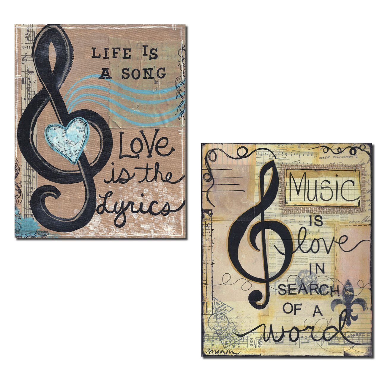 """Beautiful Scrapbook-Style """"Life Is A Song, Love Is The Lyrics"""" and """"Music Is Love In Search Of A Word"""" Set; Two 11x14in Poster Prints"""