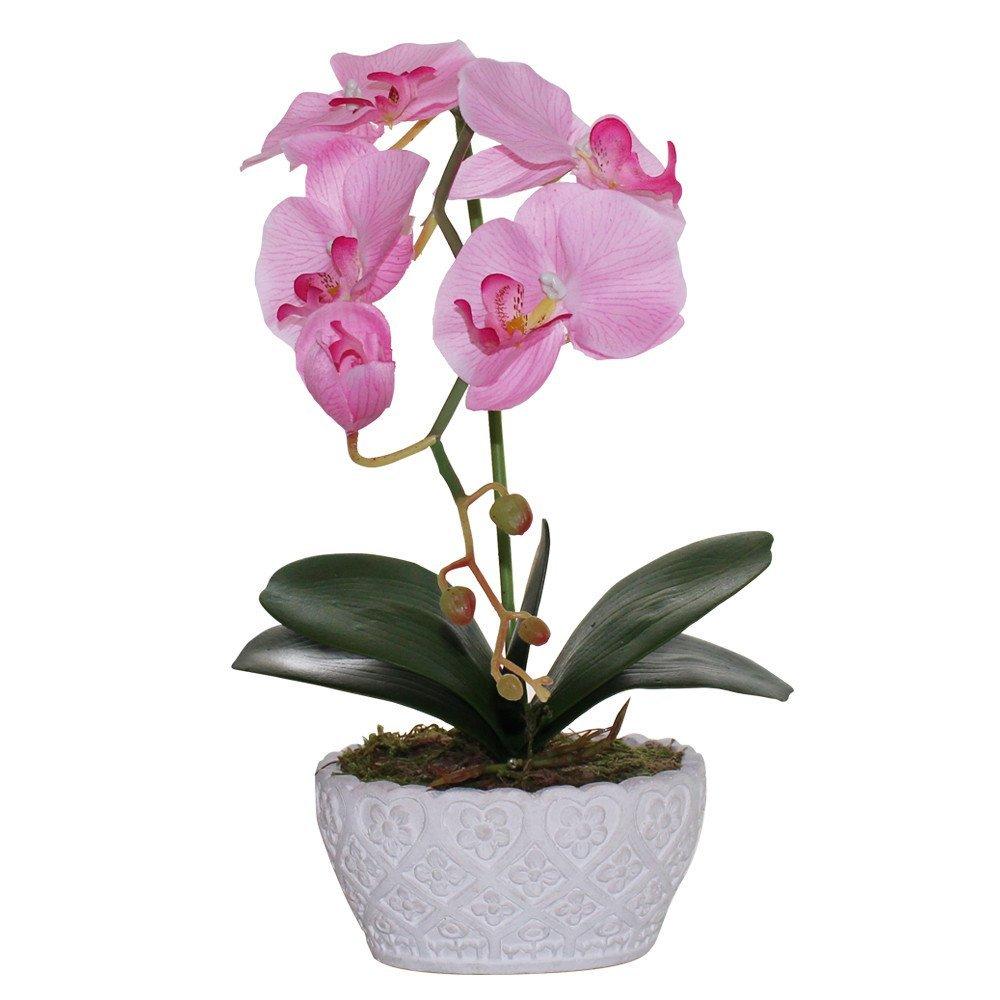 "Huazhiwu 14"" Silk Decor Phalaenopsis Artificial Flowers Single Orchid Floral Arrangements 3314, Pink"