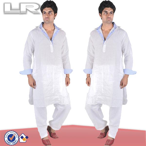 Men's Plain Pathani Shalwar Suit With Snap Button Closure
