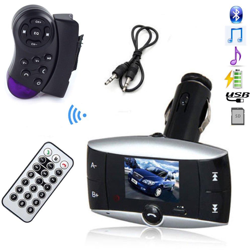 1.5'' LCD Car Bluetooth Mp3 Player Wireless Steering Wheel Fm Transmitter Handsfree Bluetooth Car Kit Support USB Sd MMC + Remote Control