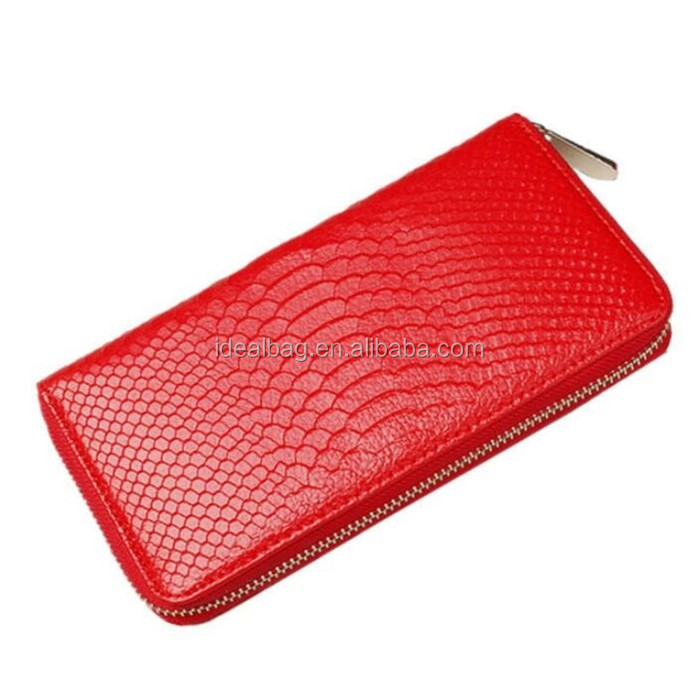 Long style embossed snake lady wallet,phone and coin purse wallet,promotion lady clutch bag zipper wallet factory wholesale